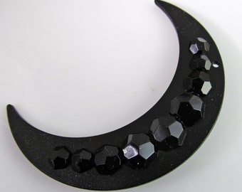 2 Vintage 3 Inch 76mm Matte Black and Faceted Reversible Acrylic Crescent Moon Pendants Pd707