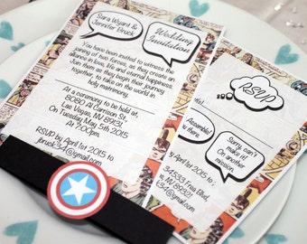 Vintage Marvel/DC Comic Book Wedding Invitation Set SAMPLE