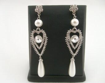 Bridal earrings-Vintage inspired art deco Swarovski crystal dangle bridal pearl earrings-Bridal jewelry-Art deco earrings - Wedding jewelry