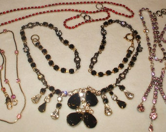 4 Amazing wearable Vintage Rhinestone necklaces