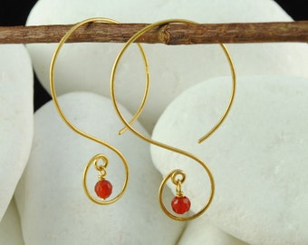 Carnelian Solid 14K Gold Dangle / Hook Earrings - FREE Shipping