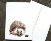 Critters and Cups: Hector Hedgehog // Greeting Card - Forest Illustration