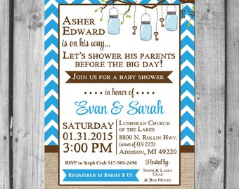 Chevron and Mason Jars Baby Shower Invitation