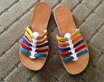 COLORFUL Vintage Huaraches Woven Leather Sandals Shoes Colorful Rainbow Stripe Colors MINT Condition NOS Deadstock Mexican Mexico Size 8 9