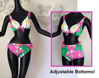 MOD Vintage 60s DeWeese Designs Bikini Swimsuit Adj. High Waist or Low Two Piece Bathing Suit Flower Power NEON Pink Green Lycra Spandex SM