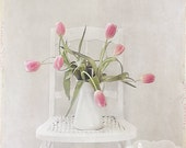 Spring Chair- Bouquet of Tulips Photograph- Still Life Photo- Pale Pink Tulips- White Chair- Pink White- Pastel Floral Art 5x7 Photo Print