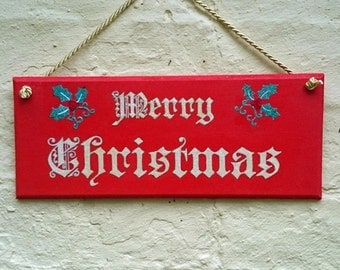 Merry Christmas Hand Painted Decorative Sign Christmas Decoration