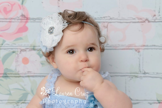 White lace flower with a blue fabric flower below it and a blue rhinestone center for all ages, bebe foto, newborn, by Lil Miss Sweet Pea