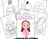 Spa coloring activity book PDF or JPEG TEMPLATE Makeup salon theme Favor Kids Printable Personalized Custom
