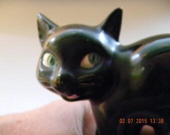 SALE!! Reduced price...Vintage Goebel Black Scaredy Cat figurine.HALLOWEEN!! .originally a pretzel holder; no tail; but lovely