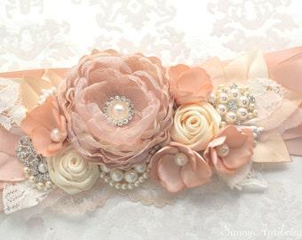 "Blush Champagne Ivory Sash ""Charlotte"" Bridal Wedding Ribbon Sash/ Handmade Accessory"