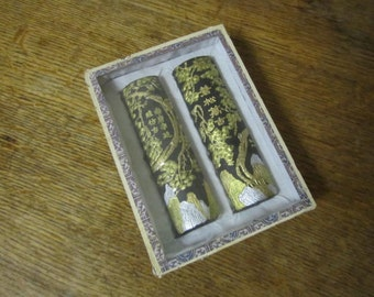 Ornate Chinese Ink Sticks. Box of Two Black and Gold Ink Sticks.