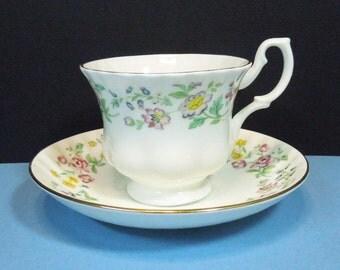 Royal Kent floral tea cup and saucer set - Staffordshire England - English teacup saucer