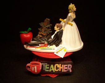 TEACHER Red Apple Bride and Groom Wedding CAKE TOPPER Funny School