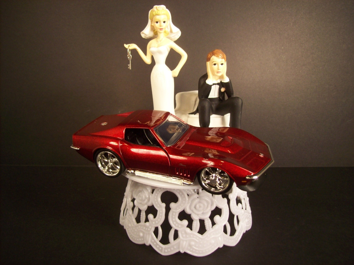 Got the key Funny Wedding CAKE TOPPER w Red 1969 Corvette