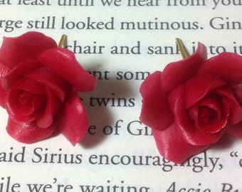 Pierced Red Rose Stud Earrings