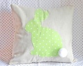 Easter Bunny Pillow Cover, Easter Pillow, Rustic Easter, Polka dot Easter, Easter Bunny Home Decor, Spring Home Decor, Spring pillow, Pastel