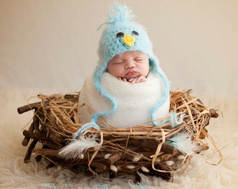 READY Baby Boy Hat - Baby Bird Hat - Baby Hat with  Earflaps & Ties- Soooo Soft - Great Texture