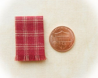 Miniature woven kitchen towel - red and oatmeal plaid, 1:12 scale