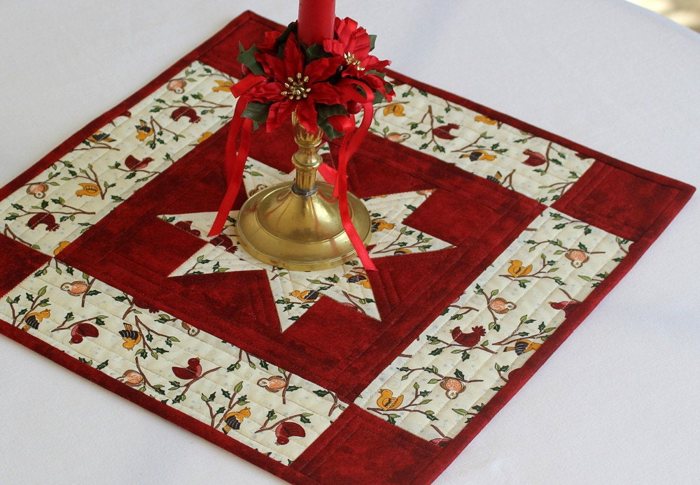 Free Patterns For Quilted Candle Mats : Quilted Winter Candle Mat Table Mat Christmas Table Topper