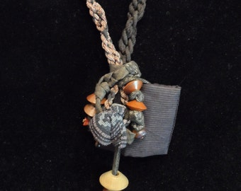 """24"""" Necklace Twisted Kimono Brown Fabric with Wooden Beads"""
