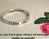 2mm Personalized ring, name ring, personalized jewelry, mothers ring, pinkie ring, stacking ring, message ring, personalized quote