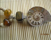 Fossil and stone necklace,  shell jewelry, stone jewelry, snail fossil jewelry, ammonite and agate