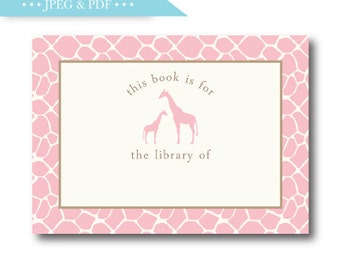 Sweet Pink Giraffe Stock the Library Book Plate Sticker Label - INSTANT DOWNLOAD