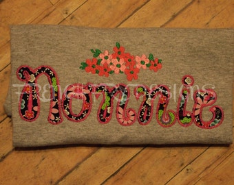 NONNIE applique shirt for Grandmother Customized and Personalized