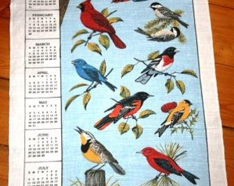 Vintage Calendar Hand Towels with Hand Embroidered Edges Years 1980 - 1994