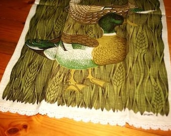 Vintage Duck Hand Embroidered Dish Towel