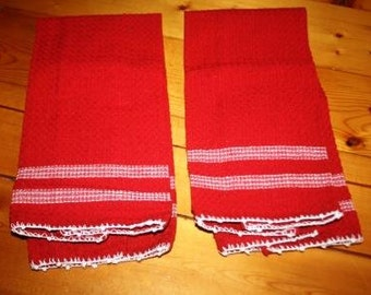 Set of Two Hand Embroidered Red Dish Towels
