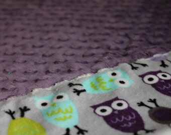Travel Pillowcase - Lavender Dimple Dot Minky with Purple Owl Print Minky Border - great for a Toddler or Travel Pillow