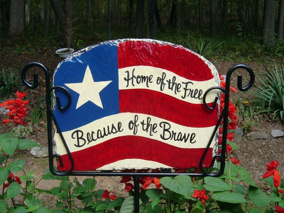 Patriotic American Flag Slate Welcome Sign Hand Painted