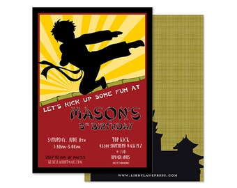 KARATE Invitation, Ninja, Martial Arts, Boys Birthday, Digital or Professionally Printed Invitation