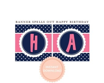 INSTANT DOWNLOAD, Happy Birthday BANNER, Pink and Navy, Pancakes and Pajamas, Polka Dots, Printable Banner