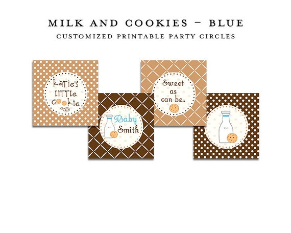 MILK & COOKIES Printable Party Circles, Custom Printable
