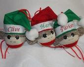 Handmade SOCK MONKEY BALL Personalized Christmas Ornament