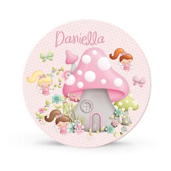 Pink Fairy Garden Party Melamine Plate for Girls