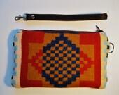 Checkerboard Wristlet/Clutch w/ leather Strap