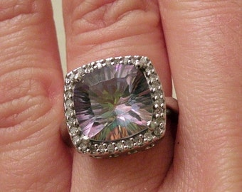 14k white Gold Ring with a large Rio topaz and diamonds sz 4 1/4