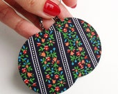 Dark Blue Floral Folk Fabric Decoupaged Earrings Textile Jewelry Upcycled (MAXI)