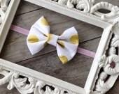 White And Gold Polka Dot Fabric Bow Pink Glitter Headband Baby Hair Bows Baby Girl Headbands Newborn Headbands 1st Birthday Photogrpahy Prop