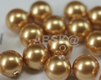 100 pcs Swarovski Crystal Pearl 5mm 5810 Round Ball Pearl - Color :  Crystal Bright Gold Pearl