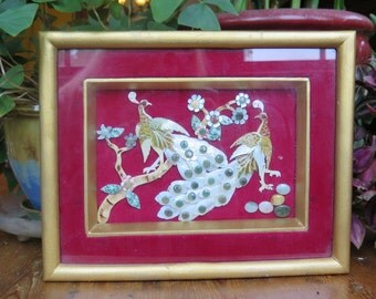 Vintage Asian 3-D Kitsch Art Abalone And Pebble Hand Made Wall Hanging Shadow Box