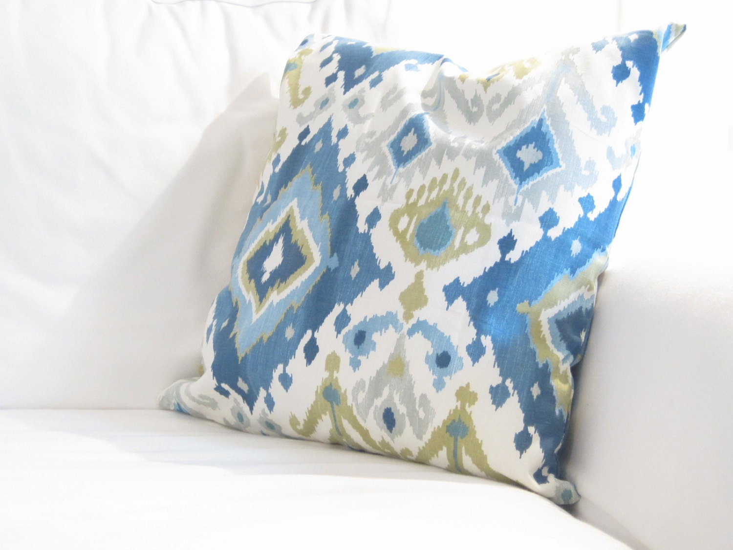 Decorative Pillows For Blue Couch : Decorative Pillows Blue Ikat Pillow Cover Blue by FineFreshDesign