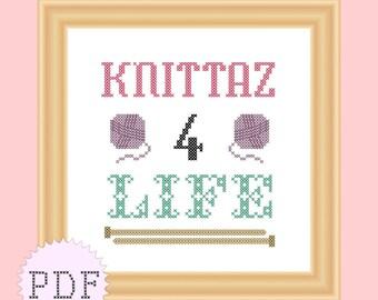 PDF Cross Stitch Knittaz 4 Life INSTANT DOWNLOAD