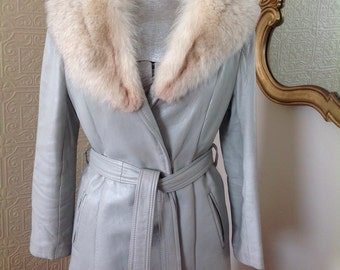 Vintage Silver Leather Trench With Luscious Fur Collar