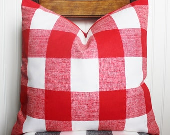 Red Buffalo Check Plaid Pillow - Throw Pillow Cover - Red and White Check Plaid Pillow Cover - Holiday, Christmas, Nautical Pillow