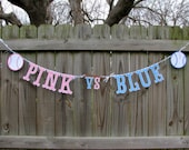 Gender Reveal - Baseball Gender Reveal - Pink vs Blue Baseball - Baby Reveal Photo Prop - Boy Or Girl Banner - Pink Or Blue Banner